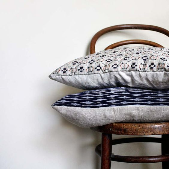 Ikat Decorative Pillow. Grey Blue Red Cushion by ProjectSarafan