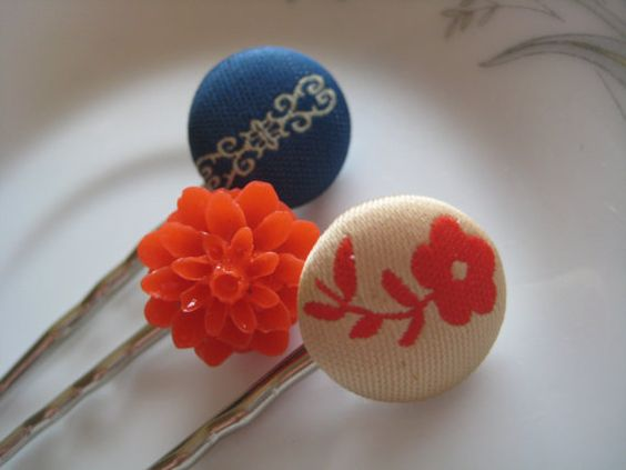 vintage inspired button bobby pin trio
