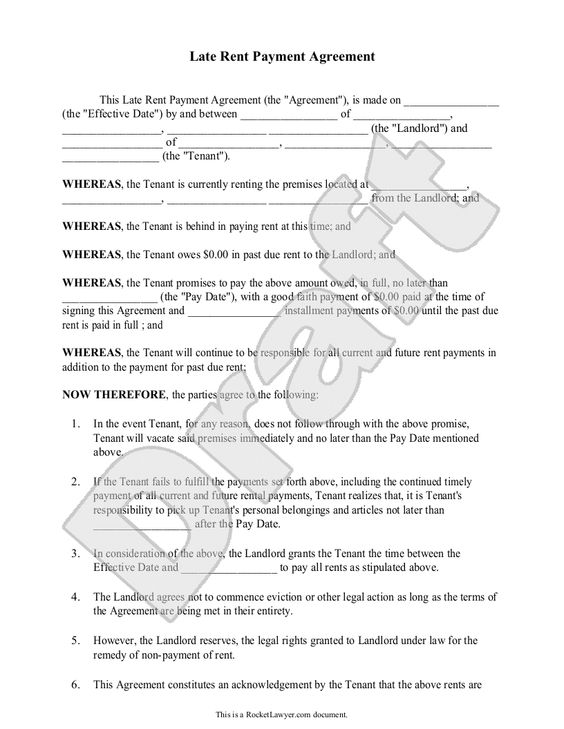 Late Rent Payment Agreement Form (with Sample) - Delinquent \ Past - investment management agreement