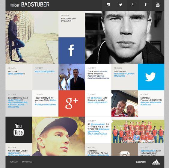 mosaico com links de redes sociais do jogador + publicações das mesmas.  http://badstuber28.de