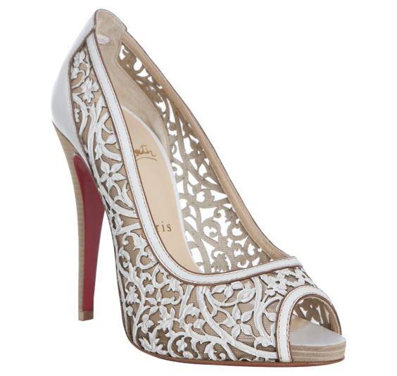 louboutin replicas - Christian Louboutin white laser cut leather 'Pampas 120' peep toe ...