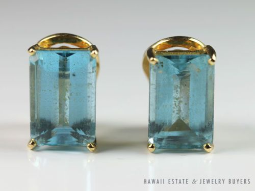 BEAUTIFUL LARGE 18K YELLOW GOLD DEEP BLUE TOPAZ STEP-CUT FRENCH CLIP EARRINGS