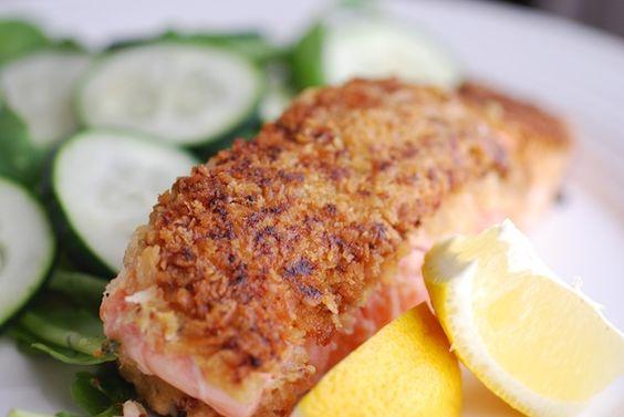 Mustard and Panko Crusted Salmon Filet