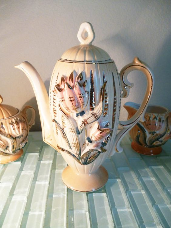 Vintage Antique Tea Set Teapot Teacup Saucer Sugar Cream Gold Pink Flowers Floral