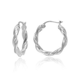 #6: Sterling Silver Tarnish-Free Twist Hoop Earrings (0.8 Diameter).