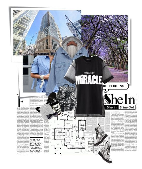 """shei denim #3"" by royalsmile ❤ liked on Polyvore featuring Nicki Minaj, Post-It, Chicnova Fashion, Dr. Martens, Moschino, Eugenia Kim, Aéropostale and Sheinside"