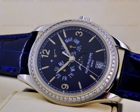 European Watch Company: Patek Philippe 5147 Annual Calendar in 18K White Gold. Probably one of the few Men's Timepieces that looks amazing with Diamonds!
