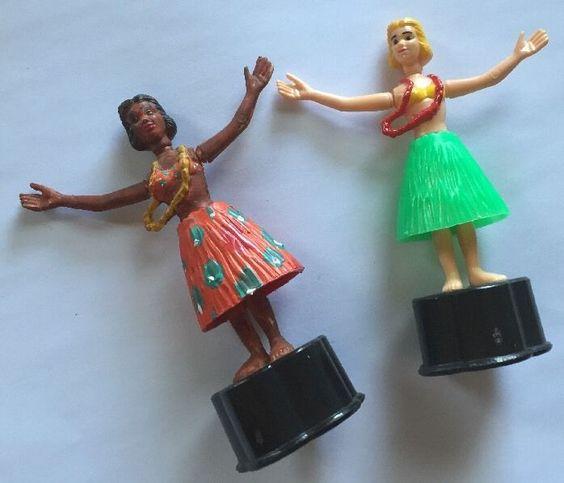 2 Vintage Dancing Hawaiian Hula Girl Push Button Puppet Novelty Toys | eBay
