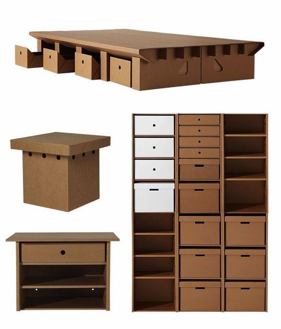 DIY cardboard furniture design original storage ideas carboard shelves storage boxes desk table: