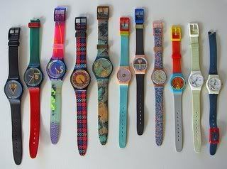 Swatch Watches...had three on each arm