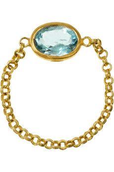 Marie-Helene De Taillac 18-karat gold aquamarine chain ring