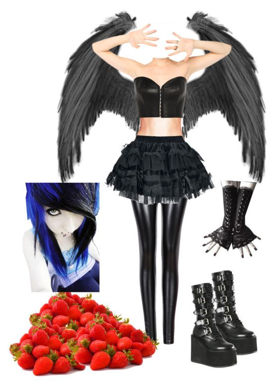 """""""Ryuk's sister~ Death Note Oc"""" by princess-greenleaf ❤ liked on Polyvore featuring Kiki de Montparnasse and Demonia"""