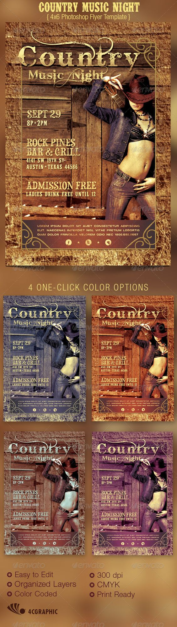 country brochure template - country music night flyer template party events rodeo