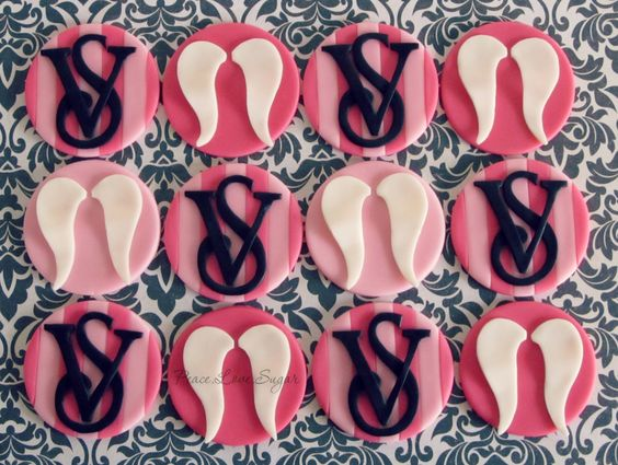 Victoria Secret Logo & Angel Wings Cupcake Toppers! Peace.Love.Sugar https://www.facebook.com/pages/PeaceLoveSugar/107504169339809