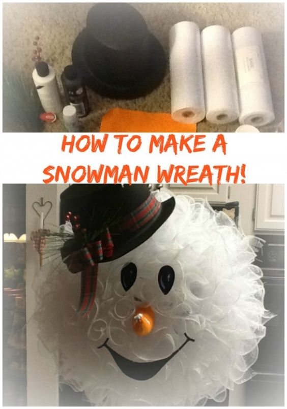 Homemade Snowman Wreath...these are the BEST DIY Christmas Decorations & Craft Ideas!