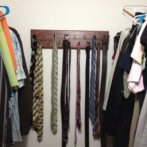 Tie and Belt Hanger #woodworking #organization #storage
