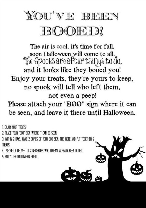 You've been Booed Printable | Print this off and add a gift to be secretly delivered to your neighbors. Free Halloween Printable for neighborhood fun. Boo Poem Printable on TodaysCreativeLif...