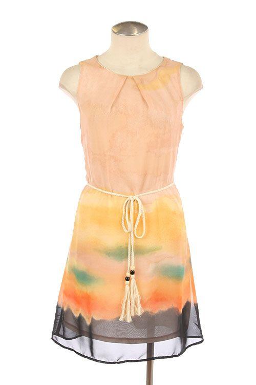 FLORAL PRINT CHIFFON SHIFT DRESS
