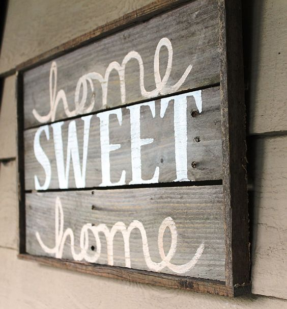 Home Sweet Home Distressed Wood Sign Cream by thesummeryumbrella, $40.00: