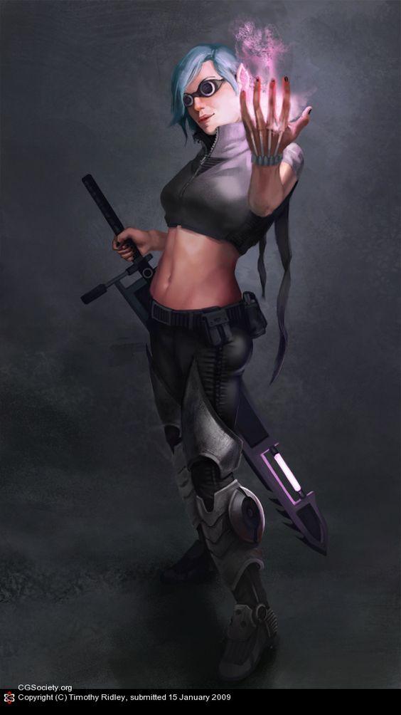 Cyber-Punk Girl by Timothy Ridley  #Shadowrun #Mage #Elf