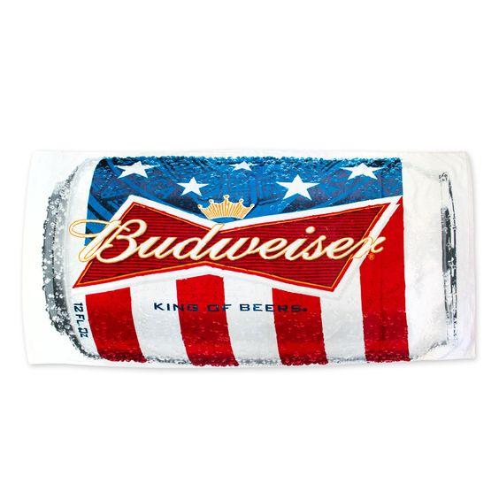 Budweiser Beer Can Multicolor Beach Towel