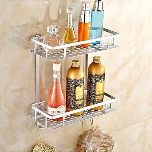 Pinksky No Drilling Bathroom Shelves Aluminum 2 Tier Shower Shelf Caddy Adhesive Kitchen Storage Basket Bathroom Shelves Shower Shelves Kitchen Basket Storage