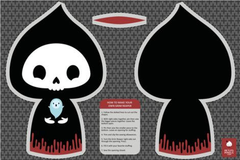 Grim Reaper cut and sew toy fabric by petitspixels on Spoonflower - custom fabric