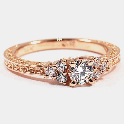 rose gold trio diamond ring: