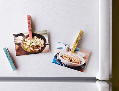 Use clothespins to create a magnetic meal planner. Click for details.