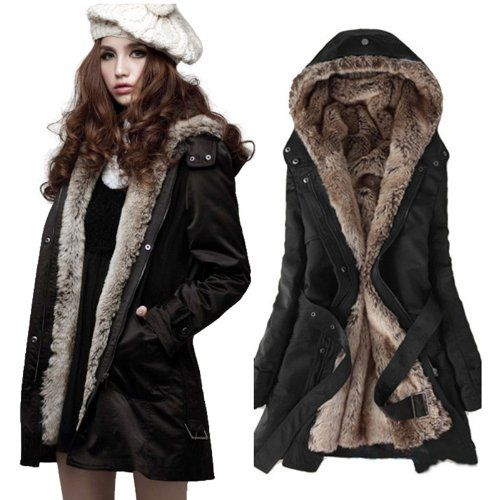 Zicac Women's Thicken Fleece Faux Fur Warm Winter Coat Hood Parka