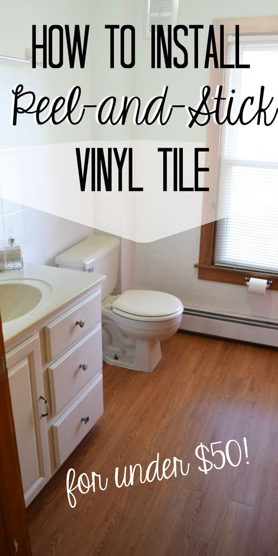 Install Peel And Stick Vinyl Floor Planks In The Bathroom More To Mrs E Cheap Bathroom Flooring Bathroom Floors Diy Diy Flooring