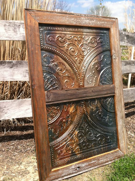 Antique Tin Ceiling Tile with Handmade Salvaged by RustedFinchRoad