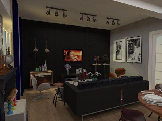 Design de interiores Sala de estar Industrial vintage Remodulação ...