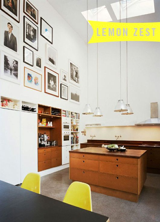 1y  Love the pop of yellow and the cabinets