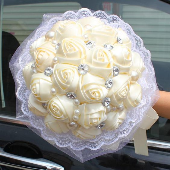 2015 Cheap Beige Wedding Bridal Bouquet Handmade Satin Rose With Pearls And Crystal Bride Hand Holding Flower In Stock Wedding Favor #dhgatePin