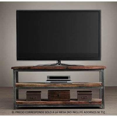 1 mesa mueble tv led smart hierro madera consola for Mueble hierro y madera