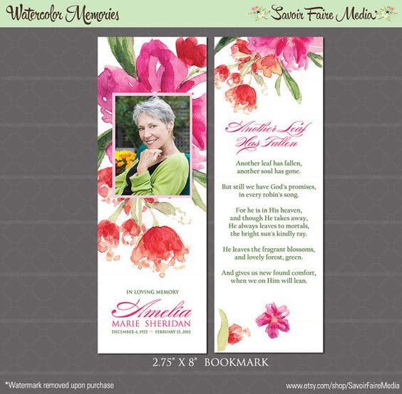 funeral memorial bookmark and prayer card printable watercolor order of service program. Black Bedroom Furniture Sets. Home Design Ideas