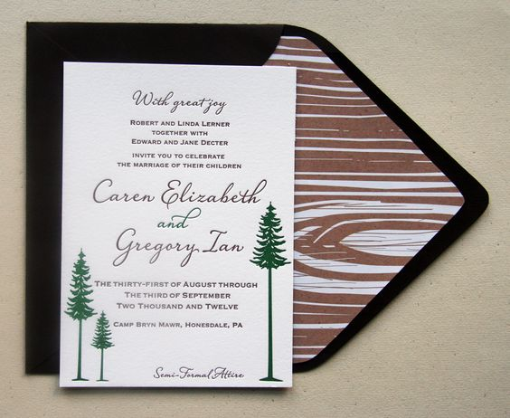 letterpress wedding invitation custom set rustic camp themed 700 via etsy - Camping Wedding Invitations