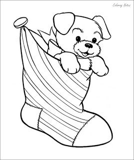 Christmas Stocking Colouring Pages With Puppy Dog Coloring Page Cute Coloring Pages Puppy Coloring Pages