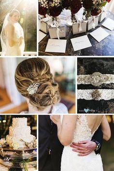 Peinado de novia y detalles del vestido de una boda invernal rústica glam…