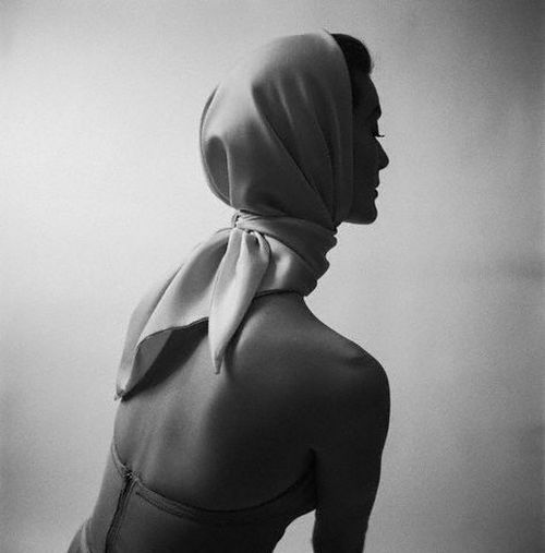 Mary Jane Russell models a scarf, 1950. Photo by Genevieve Naylor.