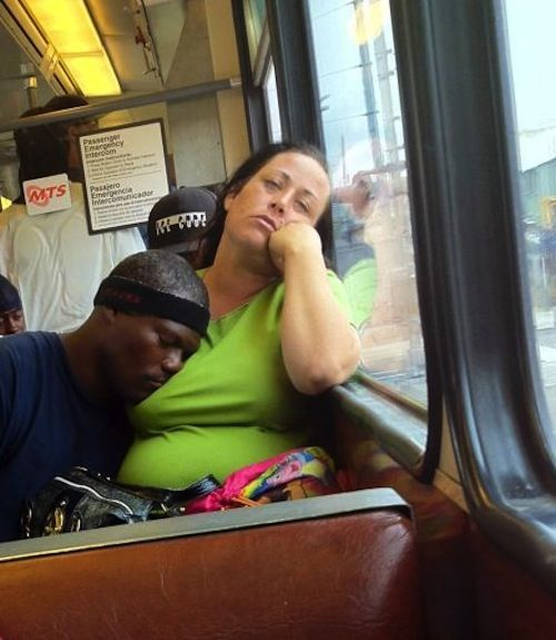Funny Photo Collection black man sleeping on white woman ...