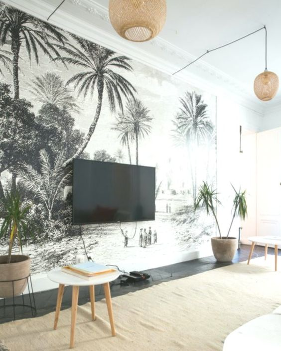 Dans Lappartement Dalix Petit La Cratrice Dheimstone In 2020 Tropical Home Decor Wallpaper Living Room White Wallpaper