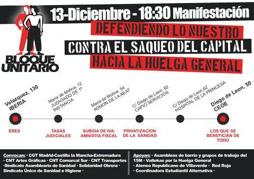 13 de diciembre: defendiendo lo nuestro, contra el saqueo del capital, hacia la huelga general.