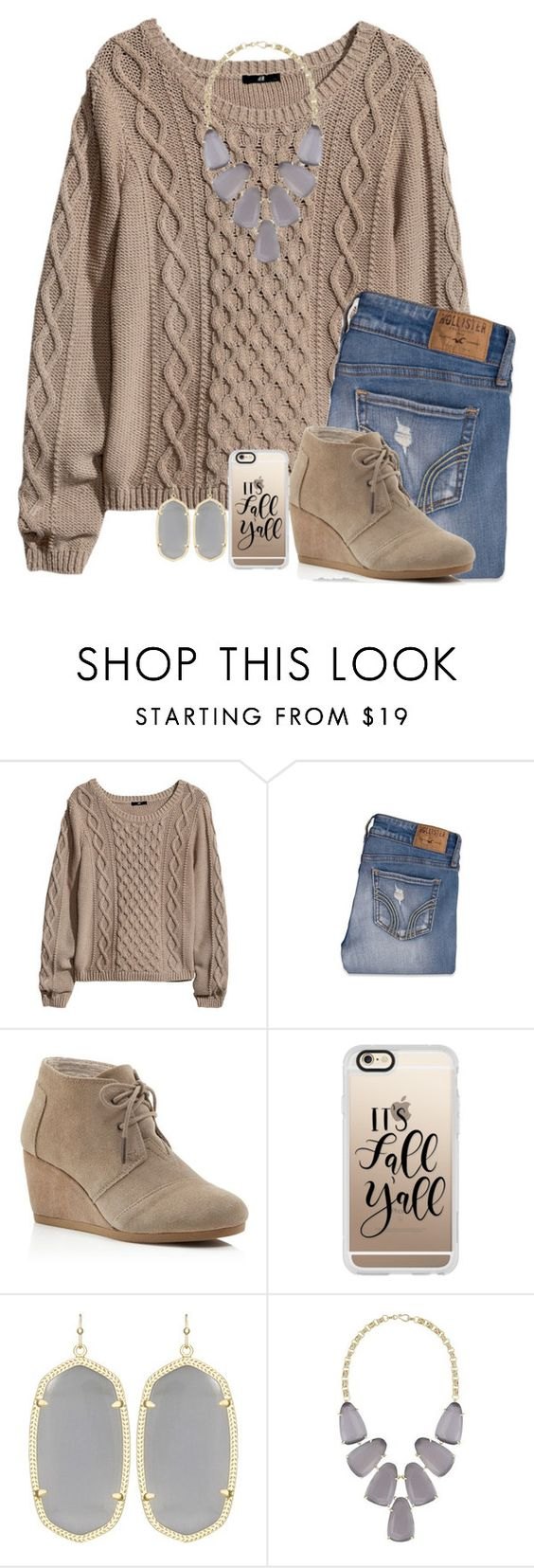 """""""i love fall🍂"""" by mmadss ❤ liked on Polyvore featuring H&M, Hollister Co., TOMS, Casetify and Kendra Scott"""