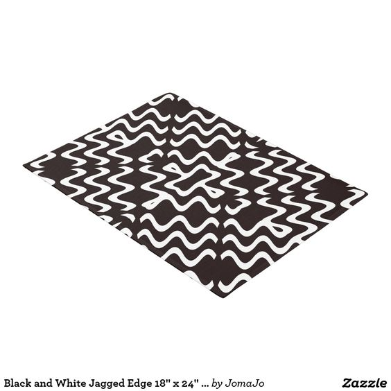 "Black & White Jagged Edge Tribal 18""x24"" Door Mat"