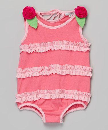 Another great find on #zulily! Fuchsia Ruffle Sleeveless Bodysuit - Infant #zulilyfinds