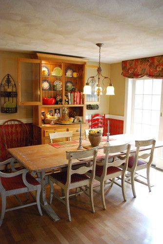 Faux Painted Harlequin, Rustic Antique Farm Table, Red Kitchen traditional dining room