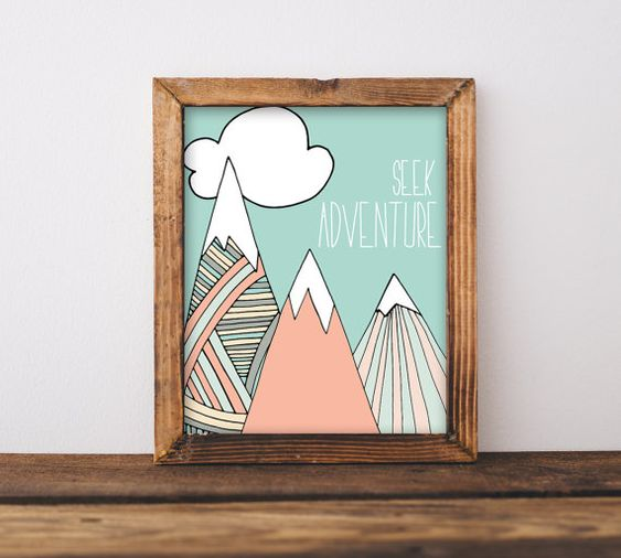 Seek Adventure Nursery Wall Art Printable, Gender Neutral Mountain ...