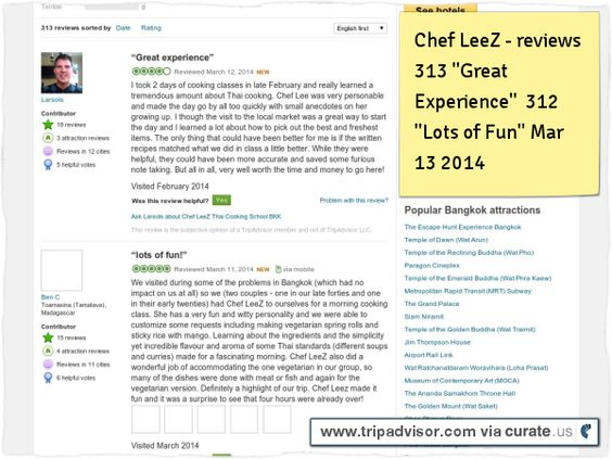 "Chef LeeZ reviews 313 Great Experience"" 312 ""Lot's of Fun"" Clipped from www.tripadvisor.com"
